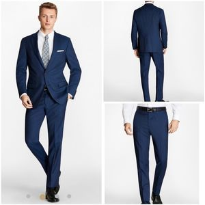 Brooks Brothers suit navy flat front regent cool